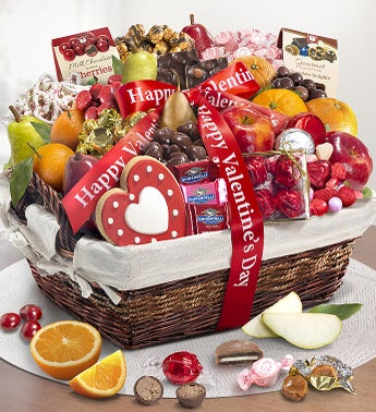 Happy Valentines Day Fruit  Sweets Basket