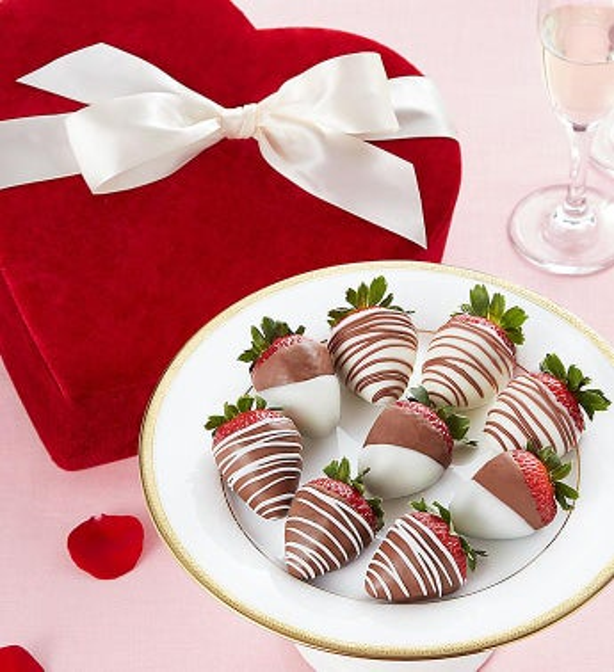 Chocolate Strawberries in Red Velvet Heart Box