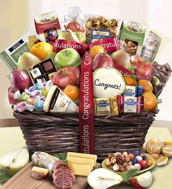 Congratulations Fruit  Sweets Gift Basket Deluxe