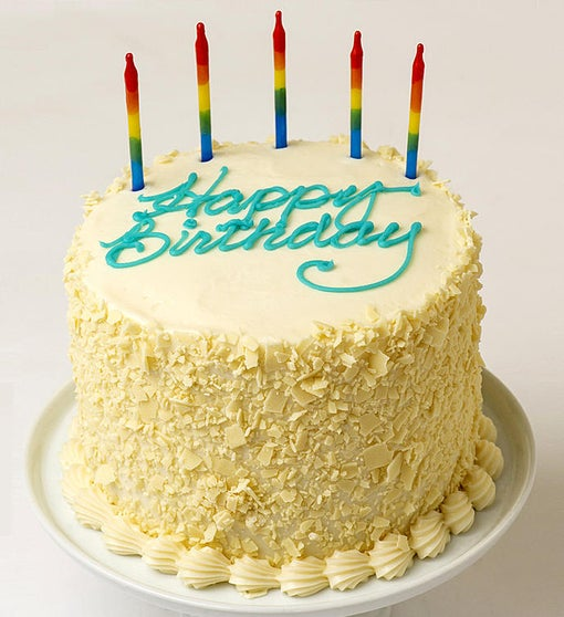 Happy Birthday Yellow Cream Cheese Frosted Cake