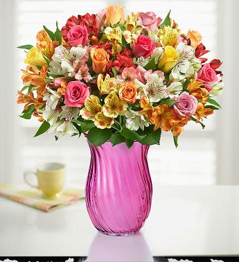 Assorted Roses  Peruvian Lilies  Free Shipping