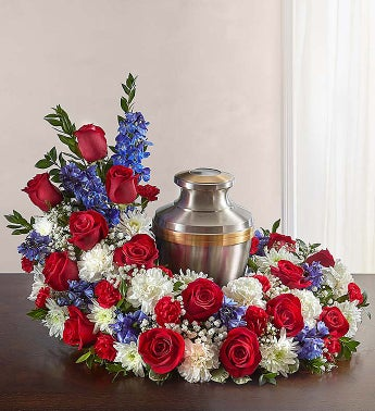 Cremation Wreath - Red White  Blue