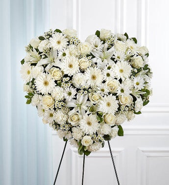 All White Mixed Flower Standing Heart Spray
