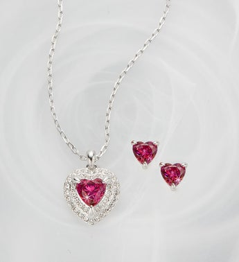 Swarovski Pink Heart Set