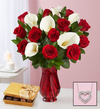 Red Rose  Calla Lily Bouquet for Valentines Day