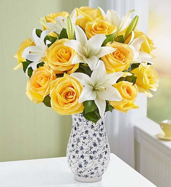 Fair Trade Yellow Rose  White Lily Bouquet