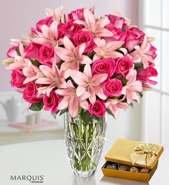 Deluxe Pink Rose  Lily Bouquet