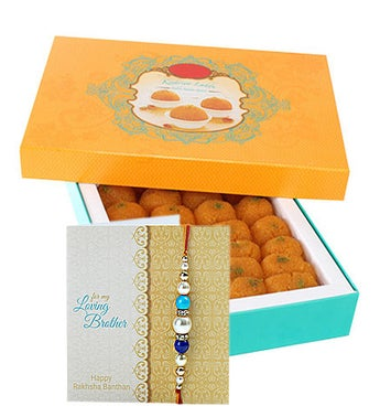 One kg Moti Chur Ladoo and Rakhi