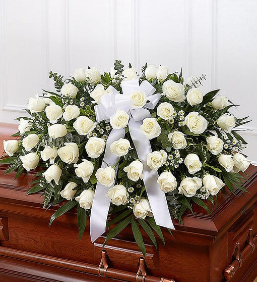 White Rose Half Casket Cover