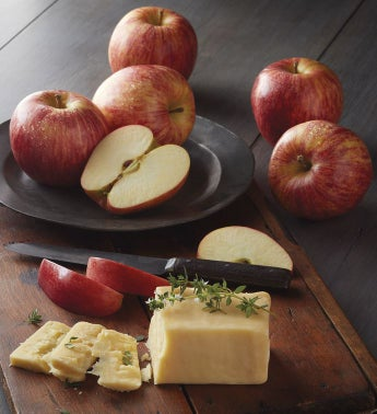 Apples and Face Rock Aged White Cheddar Cheese