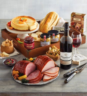 Ham and Turkey Buffet Gift with Wine