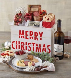Merry Christmas Crate with Wine