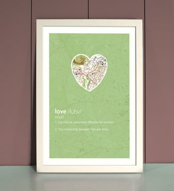 Personalized Love Framed Print In Blue
