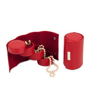 Red Leatherette 3 Level Jewelry Roll with Snap Closure