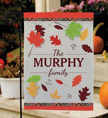 Personalized Fall Leaves Garden Flag