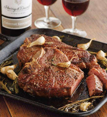 Porterhouse Steak - Two 16-Ounce USDA Prime with Wine