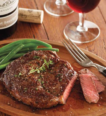 Grass-Fed Boneless Rib Eye - Two 12-Ounce USDA Choice with Wine