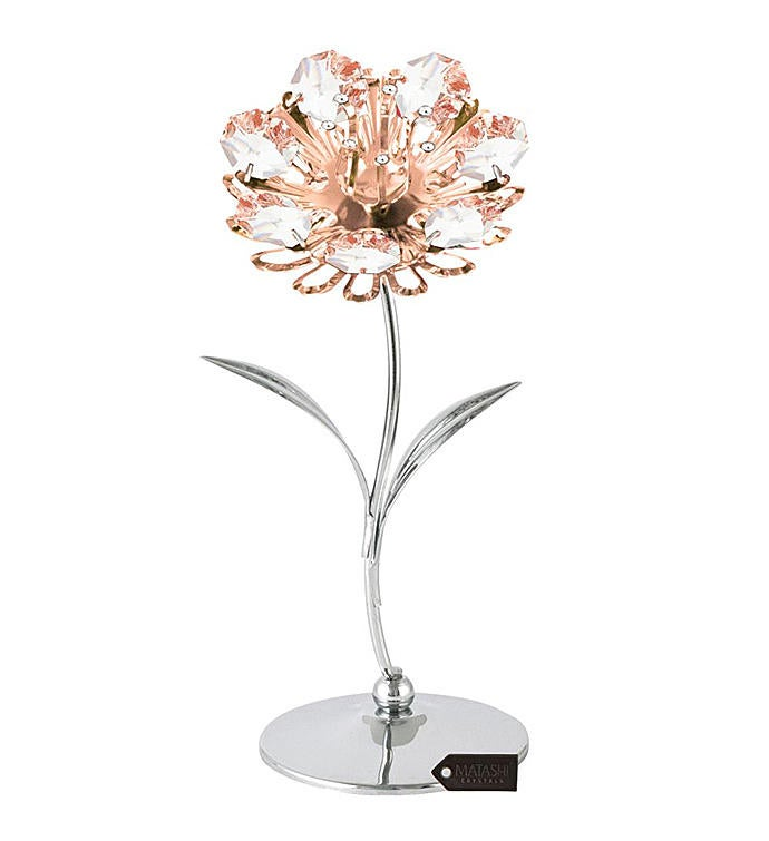 Chrome  Rose Plated Sunflower Table-Top Figurine