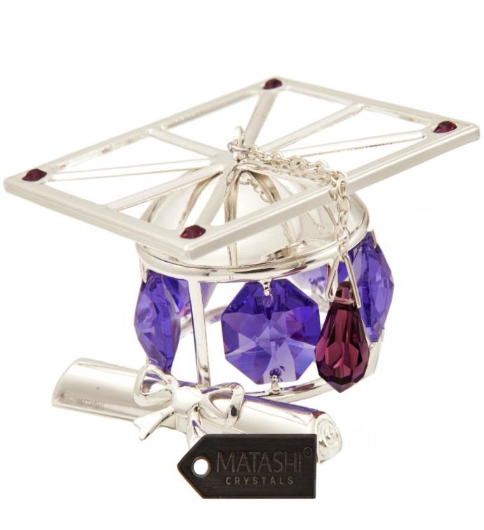 Purple Crystal Graduation Hat Ornament