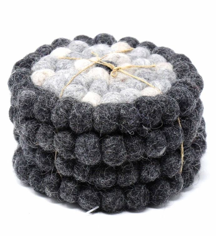 Hand Crafted Felt Ball Wool Coaster Set From Nepal