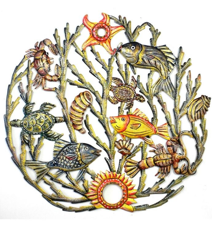 Recycled Steel Haitian Metal Sealife Wall Art 2434