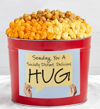 Tins With Pop Socially Distant Hug Sign